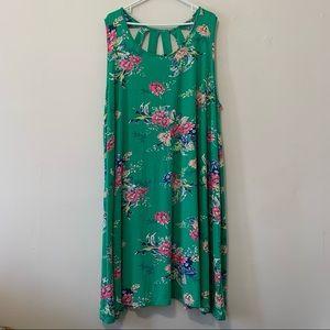 Lily Morgan Floral Green Maxi Dress in 3X